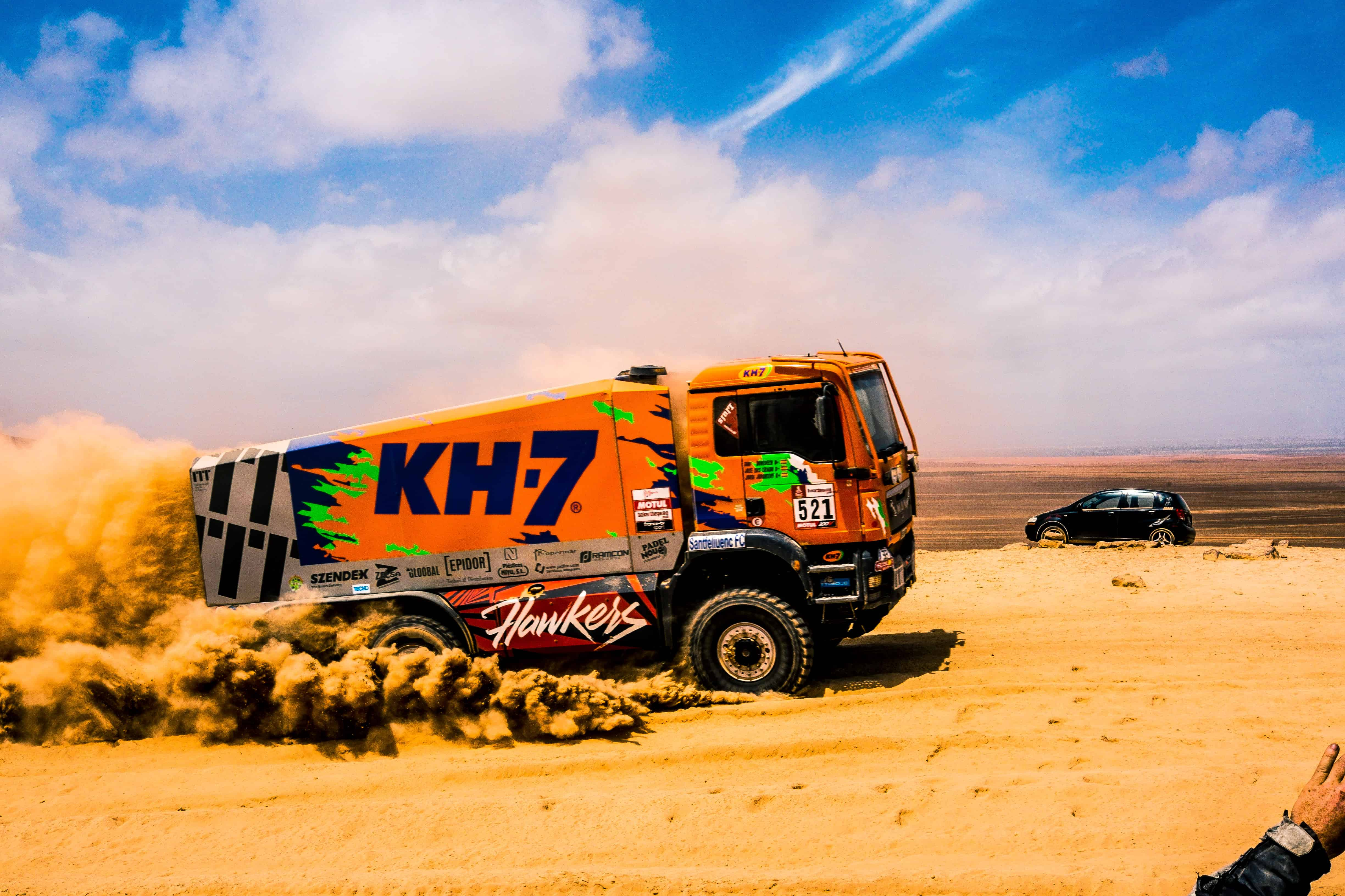 a competitor truck in the dakar rally 2019