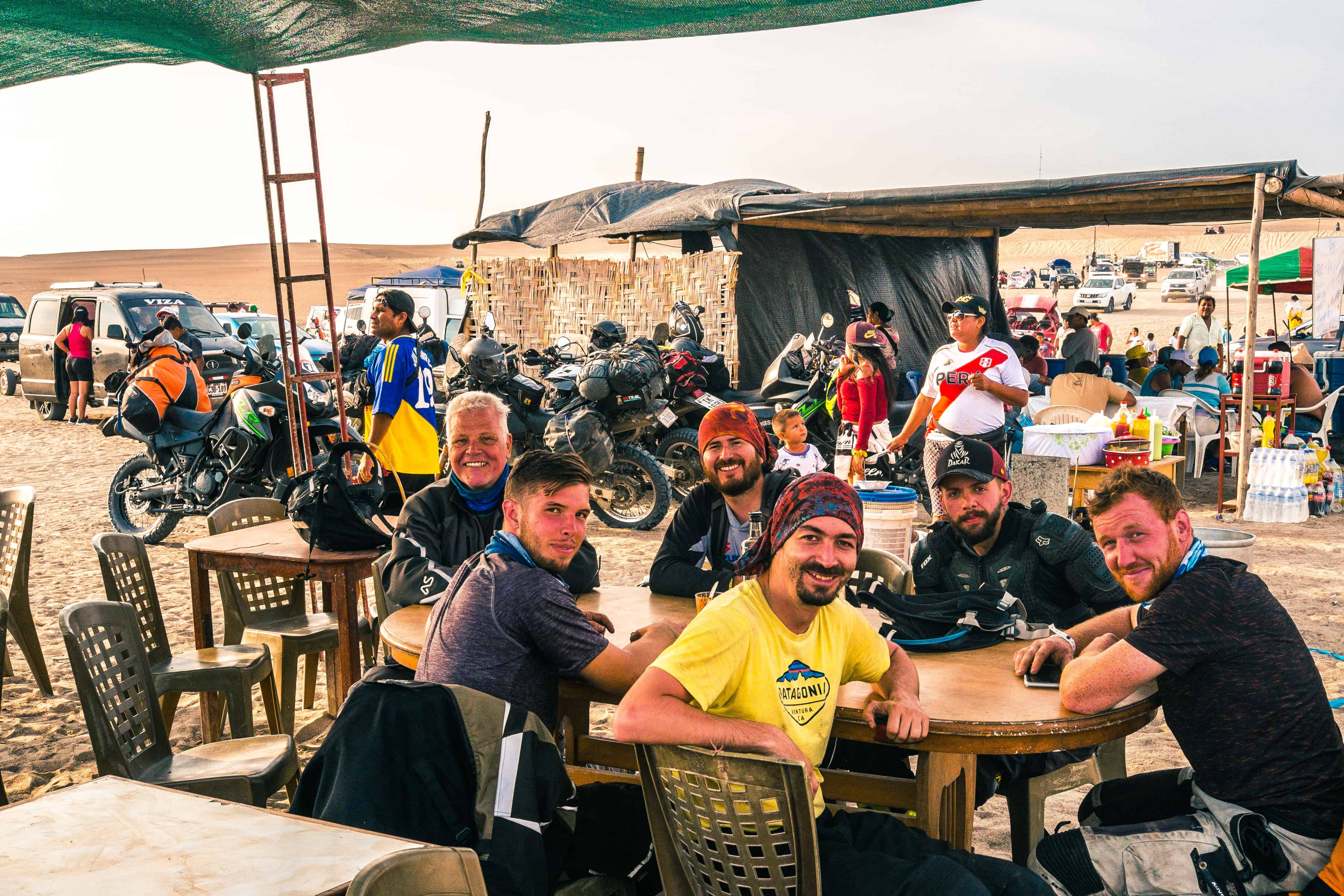 Meeting friends at the bivouac of the 2019 dakar